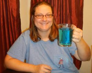 Linda drinking Romulan ale