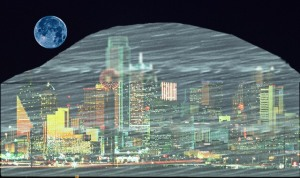 Dallas skyline with force field